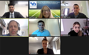 screenshot of students participating in the sports law webinar